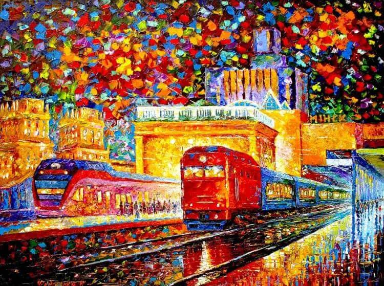 Станция Минск-Пассажирский картина маслом