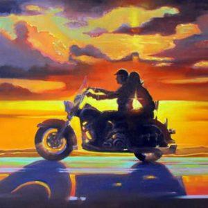 Наедине картина с мотоциклом