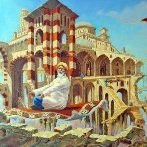 Картина написана под впечатлением от произведений Омара Хайяма