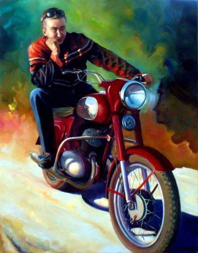 Портрет мотоциклиста и его мотоцикла Image