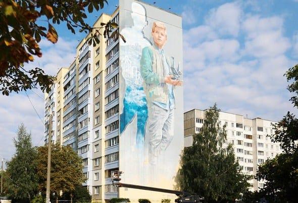 Картина на стене дома в Минске