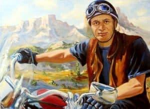Картина маслом портрет мотоциклиста, байкера. Купить картину с мотоциклом