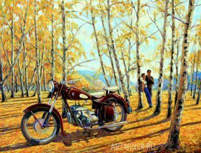 Картина маслом мотоарт с ретро мотоциклом IFA BK-350