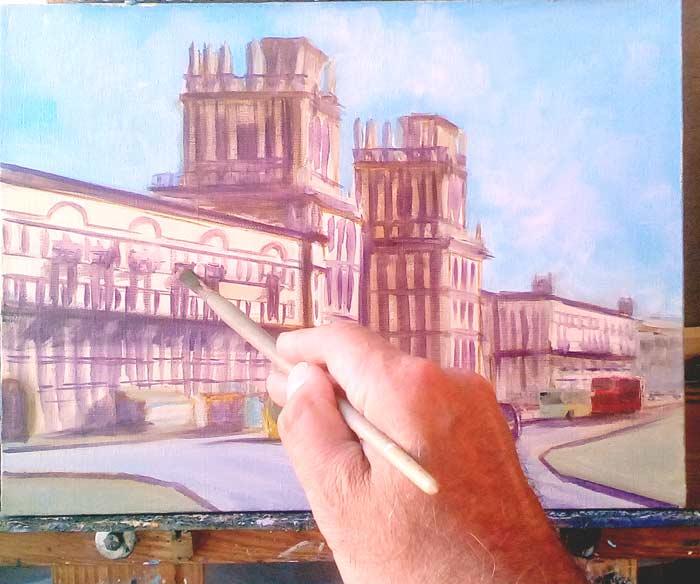 Этюд картины Минск, ворота города