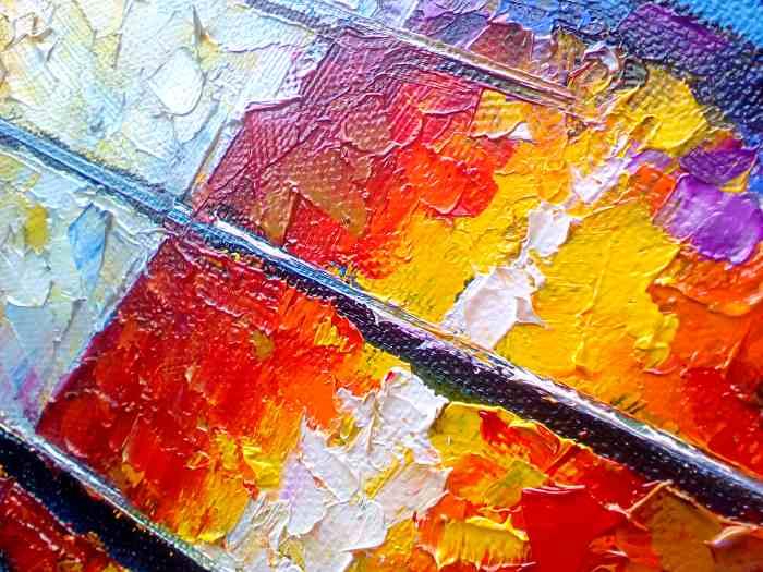 Картина выполнена мастихином