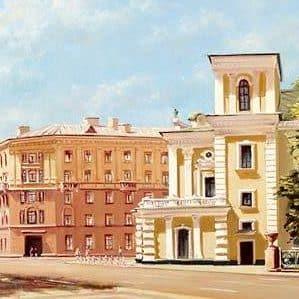 Минск, улица Карла Маркса и театр Янки Купалы