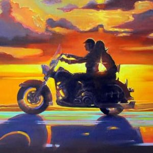 Подарок байкеру-картина с мотоциклом