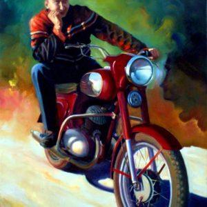 Портрет мотоциклиста и его мотоцикла