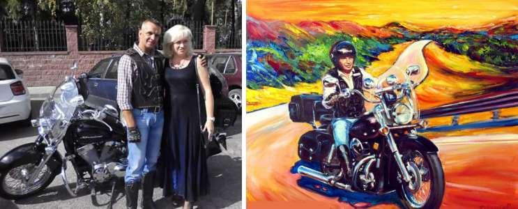Мотоцикл Хонда и байкер