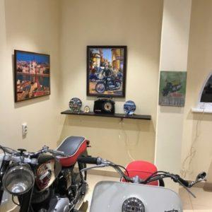 Коллекция ретро-мотоциклов интерьер