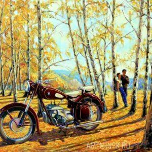 Мотоцикл ИФА 350 ретро мотоцикл в живописи
