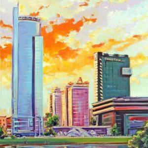 Городской пейзаж маслом Минск