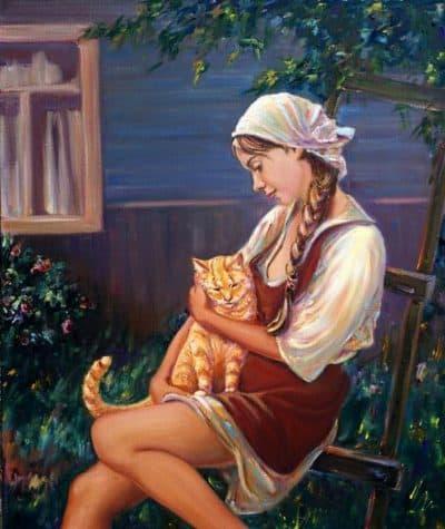 Лирическая живопись девочка с котом