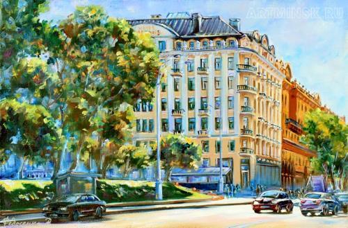 Городской пейзаж, картина маслом