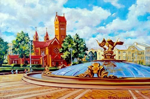 Минск, Площадь Независимости, фонтан Беларусь
