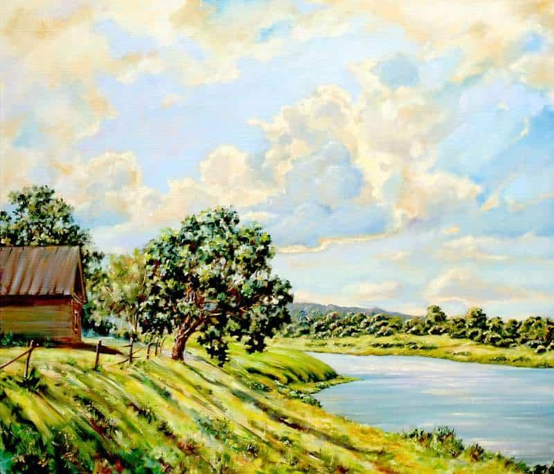 Облака над рекой — летний пейзаж Image