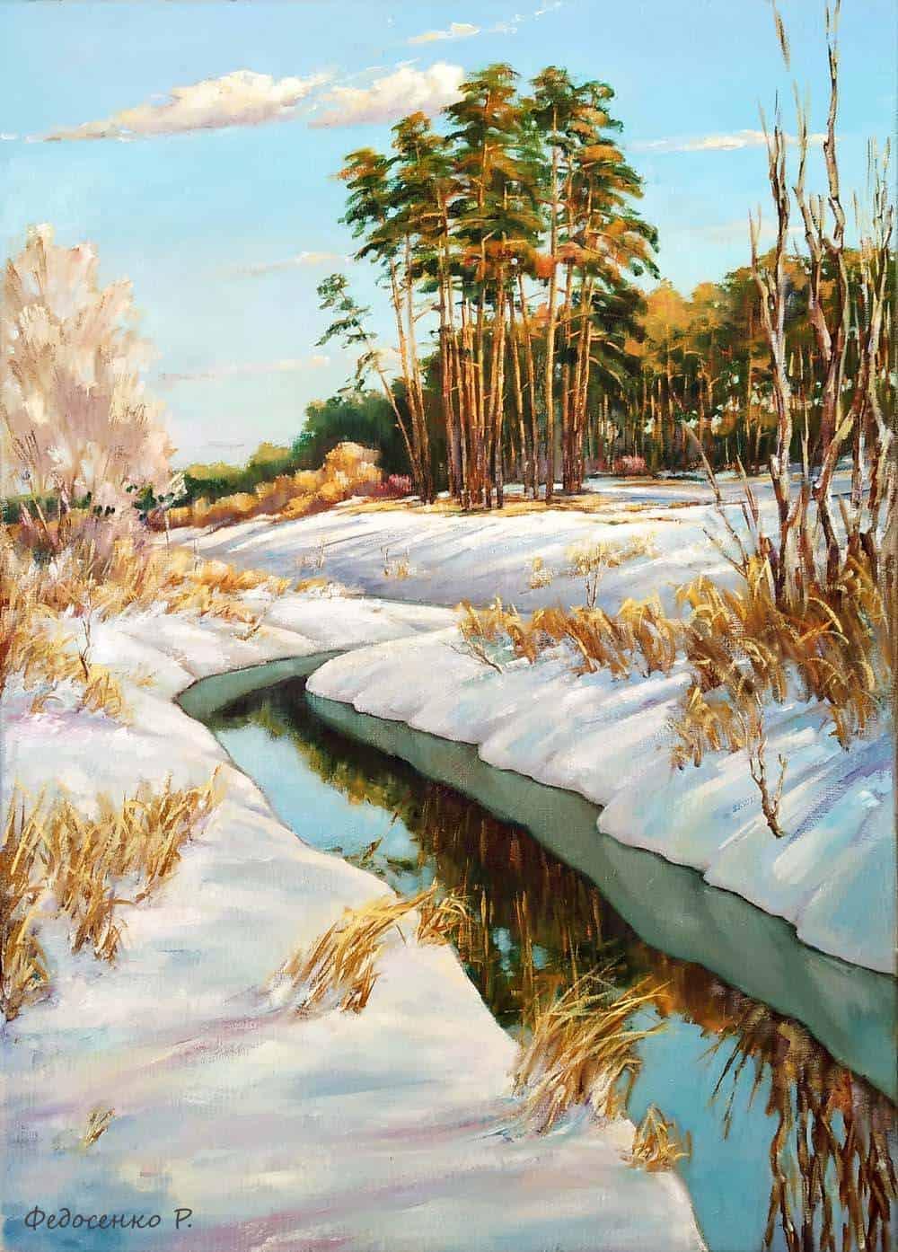 """Зимний пейзаж """"Дыхание весны"""". Картина маслом на холсте Image"""