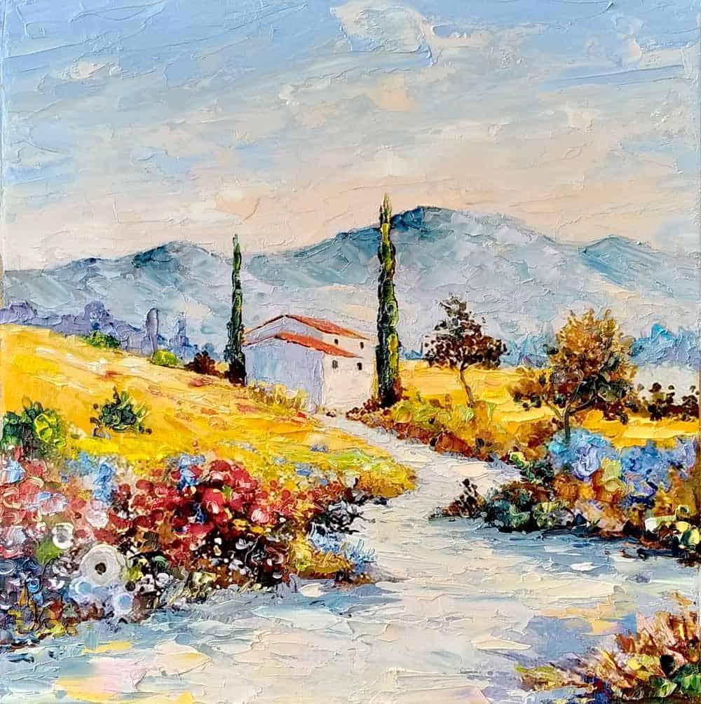 Синие горы Прованса. Пейзаж маслом на холсте Image