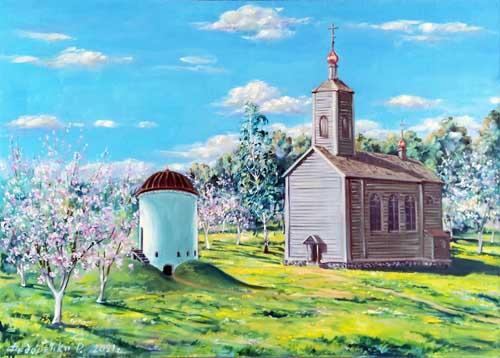 картина старая деревенская церковь