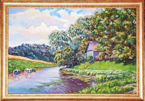 Дом у реки сельский пейзаж