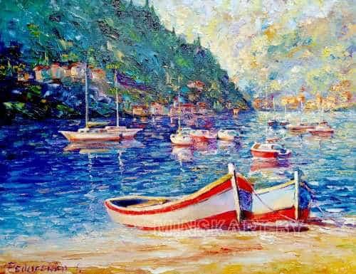 Море, лодки, пейзаж