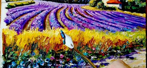 Лавандовые поля Прованса, пейзаж на оргалите