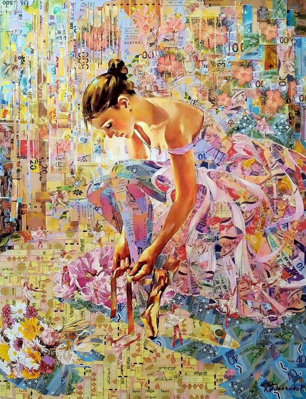 Танец цветов, панно из денег Image