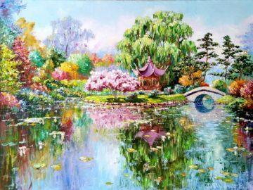 Китайская беседка в парке, пейзаж маслом