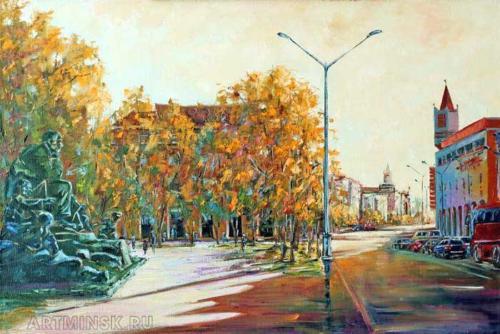 Площадь Якуба Коласа Минск. Холст, масло, 50/70 см.