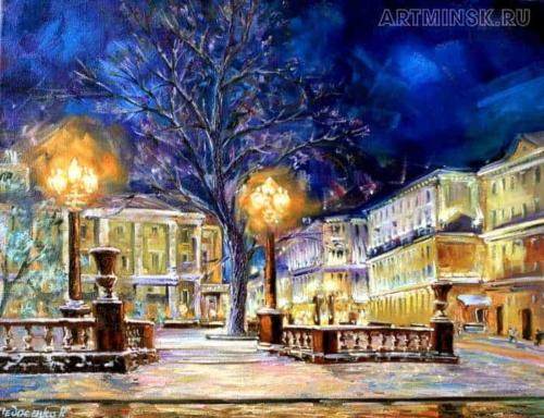 Минск Александровский сквер, улица Энгельса. Холст, масло, 40/50 см.