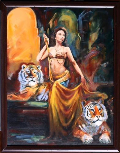 Девушка с тиграми