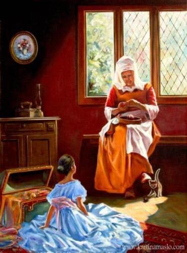Бабушкины сказки. Жанровая живопись. Холст, масло 60/80 см. 800BYN