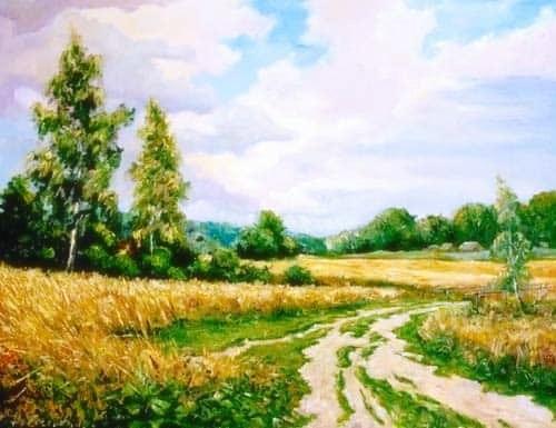 Дорога к дому — летний пейзаж. Холст, масло 50/65 см. 400BYN