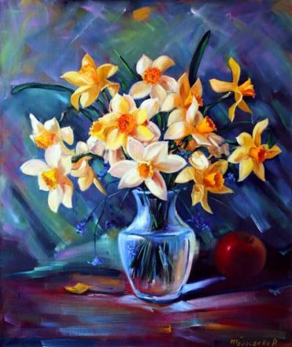 Нарциссы, цветочный натюрморт. Холст, масло 60/50 см.