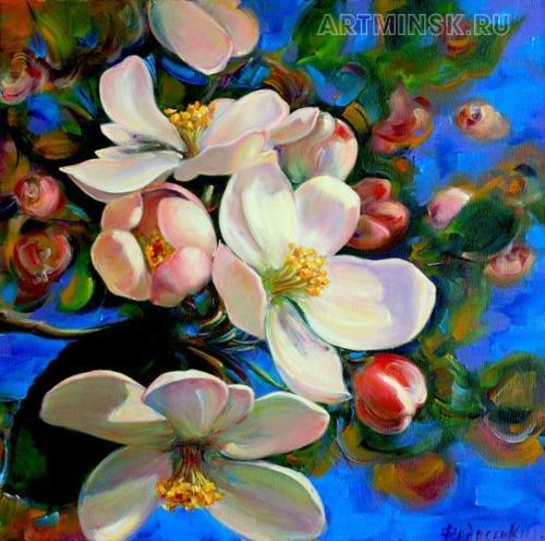 Весеннее настроение, яблоневый цвет. Холст/масло 40/40 см.