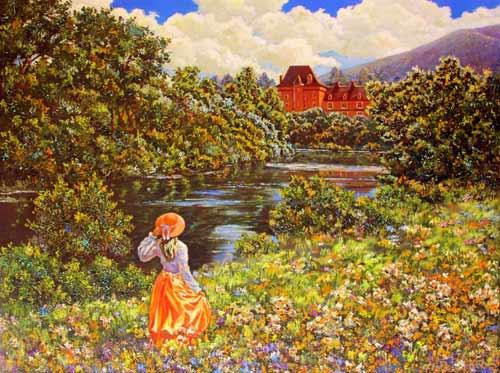 Прованс, замок в долине реки. Холст, масло 60/80 см.