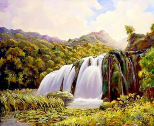Пейзаж с водопадом. Холст, масло  50/60 см. 300BY