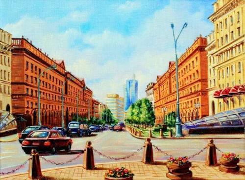 Минск, улица Ленина. Холст, масло, 30/40 см.